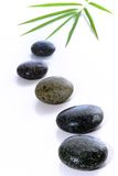Steine und Bambusblätter Lizenzfreie Stockfotos