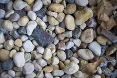 Steine und Blätter als Hintergrund stockfotos