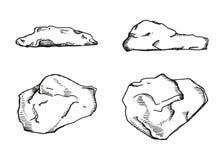steine Vektorweinlese Skizze Stockbild