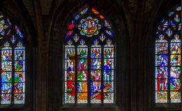 Steined glass in cathedrale Holy Cross of Orleans Stock Photo