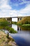 Steineisenbahnbrücke Stockfoto