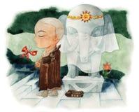 Steinelefant und Mönch Lizenzfreie Stockbilder