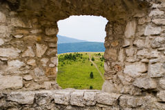 Steinfenster stockfotografie