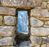 Steinfenster Machu Picchu Lizenzfreie Stockfotos