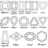 Steinformen und ihre Namen Stockbilder