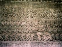 Steinfries auf altem Tempel Stockbild