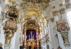 Steingaden, Duitsland: WIESKIRCHE, binnen van de Mooie Historische de Bedevaartkerk van Barocco en van Rococo's stock afbeeldingen