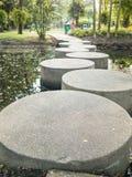 Steingehweg über dem Fluss im Park Stockbild