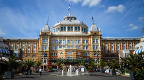 Steingenberger Kurhaus Hotel, Hague. Impressive construction of Steingenberger Kurhaus Hotel at the shore of the North Sea in Hague, in a sunny summer day stock image