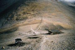 Steinhütten für Trekking im Himalaja Stockfotografie