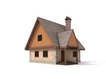 Steinhaus mit zwei Geschossen auf weißem Hintergrund Lizenzfreie Stockfotografie