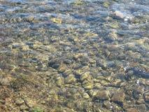 Steiniger Flussgrund durch transparentes Wasser, verschiedene Größen von Steinen Lizenzfreie Stockfotografie