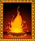 Steinkamin mit einem conflagrant Feuer Stockbild