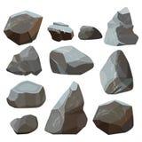 Steinkarikatur Felsige Vektorillustrationen der Felsengebirgssteinplatte lokalisiert auf weißem Hintergrund lizenzfreie abbildung