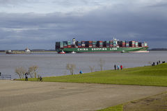 Steinkirchen (Germany) - Container vesel lying on ground of the Elbe Stock Image