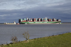 Steinkirchen (Germany) - Container vesel lying on ground of the Elbe Royalty Free Stock Photo