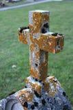 Steinkreuz umfasst mit Moos stockfotos