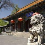 Steinlöwen und das Portal der chinesischen traditionellen Architektur Stockfotos
