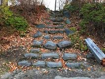 Steinleiter in einem Herbstpark Lizenzfreies Stockfoto