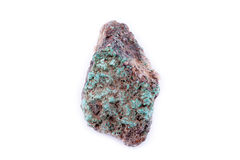 Steinmakromineralmalachit auf einem weißen Hintergrund Stockfotos