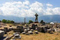 Steinmannstatue in Pompeji, Italien Antikes Kulturkonzept Italienischer Markstein Archäologische Grabungen stockbild