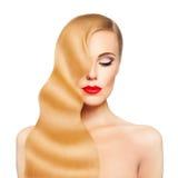 Steinmassage auf Weiß Blondes Haar-Mädchen lokalisiert Gesunde Haut Lizenzfreie Stockbilder