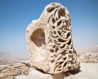 Steinmetzarbeitdetails in der Festung von Karak, Jordanien Stockfotos