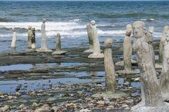 Steinmetzarbeitstatuen, die in das St. Laurence River führen Lizenzfreie Stockfotografie