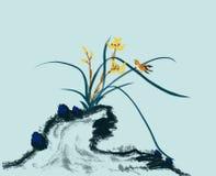 Steinorchideenblumen- und -vogelmalerei stockbild