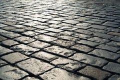 Steinpflasterung in der Perspektive Grey Block Texture Lizenzfreie Stockfotos