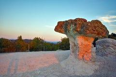 Steinpilze gefärbt im Rot vom Sonnenaufgang nahe Beli-plast Dorf, Bulgarien Stockbilder