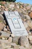Steinplakette zu Priester Sylwestra Zawadzka Of-Statue von Christus der König bei Sonnenaufgang lizenzfreies stockbild
