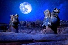 Steinsäuleskulptur eines Greifs in Persepolis gegen einen Mond und Sterne Das Siegsymbol des alten Achaemenid-Königreiches Stockfotografie