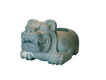 Steinschüssel der Azteken in Form eines Jaguars Lizenzfreie Stockfotos
