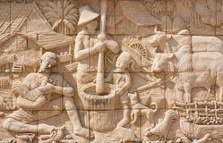 Steinschnitzen der siamesischen Kultur Stockfoto