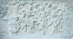 Steinschnitzen der traditionellen thailändischen Kultur Stockbild