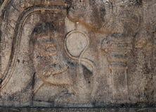 Steinschnitzen des alten Löwes in Polonnaruwa, Sri Lanka Stockbilder