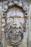 Steinskulptur des Löwekopfes Stockbild