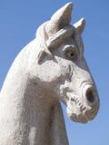 Steinskulptur eines Pferdekopfs stockfoto