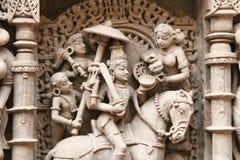 Steinskulpturen von mittelalterlichem Indien Stockfoto