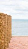 Steinsperre auf Strand mit selektivem Fokus Lizenzfreie Stockfotografie