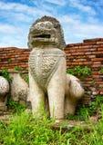 Steinstatue eines Löwe ähnlichen Geschöpfs. Thailand Stockfotografie