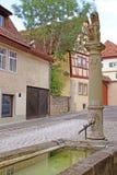 Steinstatue und Brunnen Stockfotografie