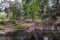 Steinsteinbruch mit Wasser im Park stockbild