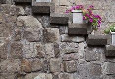 Steintreppe auf Hausmauer Lizenzfreies Stockbild