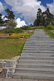 Steintreppe im Park Stockfoto