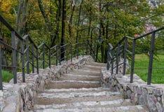 Steintreppe mit einem Metallhandlauf, Checiny-Schloss stockbild