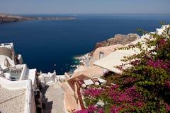 Steintreppenhaus vom Berg, Santorini, Oia, Griechenland Stockfoto
