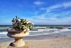 Steinvase mit Blumen auf dem Hintergrund des Meeres Stockbild