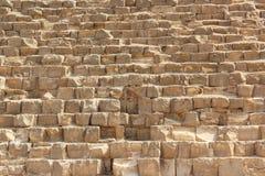 Steinwand von ägyptischen Pyramiden in Giseh, Abschluss oben Stockfoto